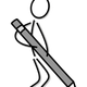 Stick Figure with Pencil Vector Clipart