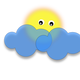 Sun behind the cloud vector clipart