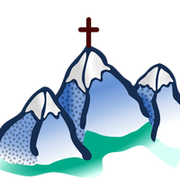 Three Mountains with Cross on top Vector Clipart