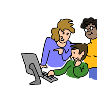 Three people working together vector clipart