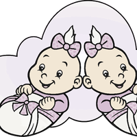 Two Girl Babies Vector Clipart