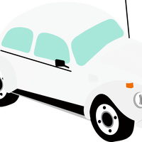 White Beetle Car Vector Clipart