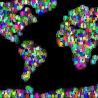 World Map Made out of Letters Vector Clipart
