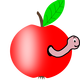 Worm in an apple vector clipart