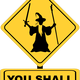 You Shall Not Pass Sign with Gandalf vector clipart