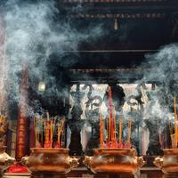 Incense burning at a temple in Hanoi, Vietnam