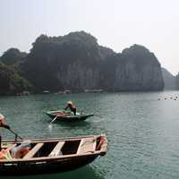 Fisherman in Boats in Vietnam