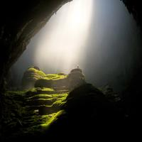 Light shining through on a cave in Vietnam