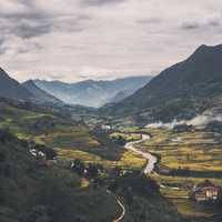 Mountains, river, landscape, and valley in Vietnam