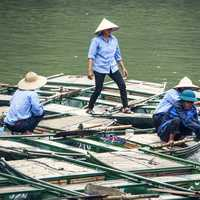 People sitting on Boats in Vietnam