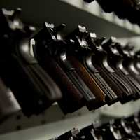 Row of handguns